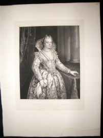 After Giovanni Antonio Fasalo C1840 LG Folio Print. Portrait of Maria Medici